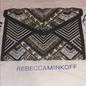 Rebecca Minkoff Gatsby beaded clutch w/zip detail